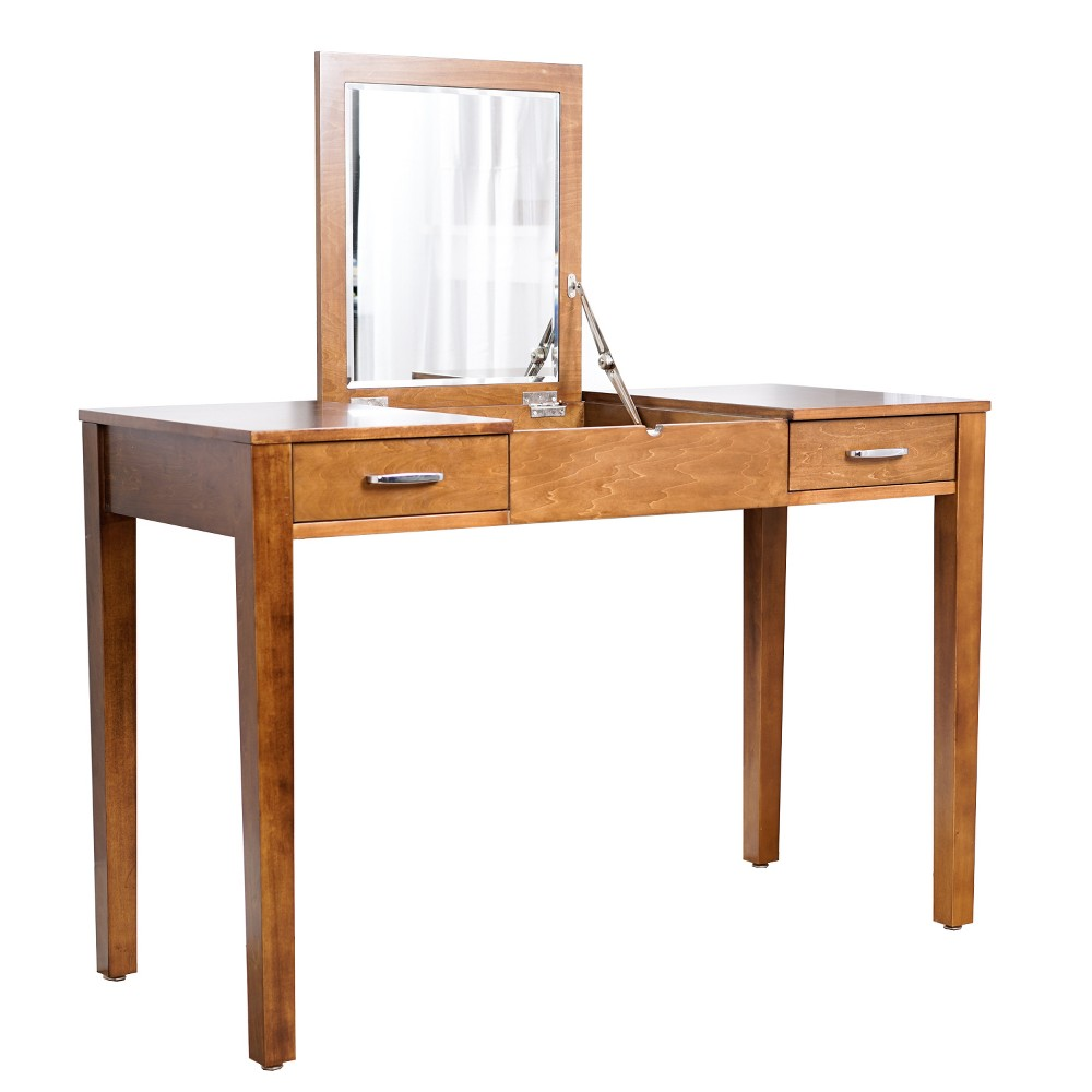 Ainsley Vanity Desk Deco Walnut Brown - Haven Home