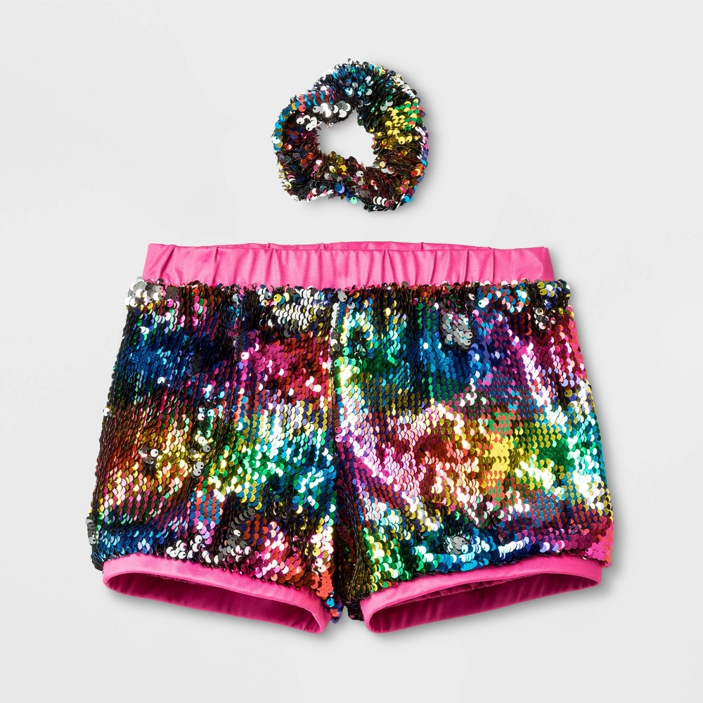 Girls' Reversible Sequins Active Wear Shorts - Pink L