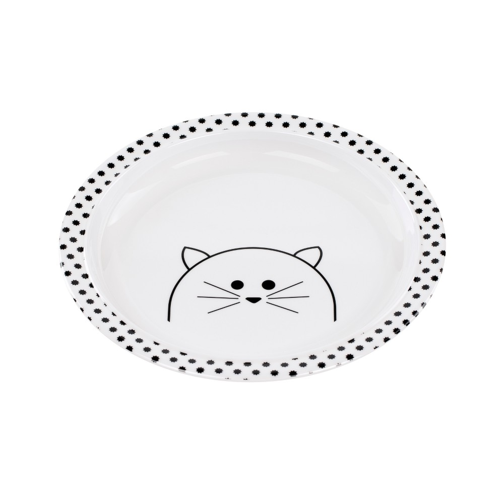 Image of Lassig Little Chums Cat Plate - White