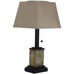 "16"" H Square Natural Slate Outdoor Solar Table Lamp - Sunnydaze Decor"