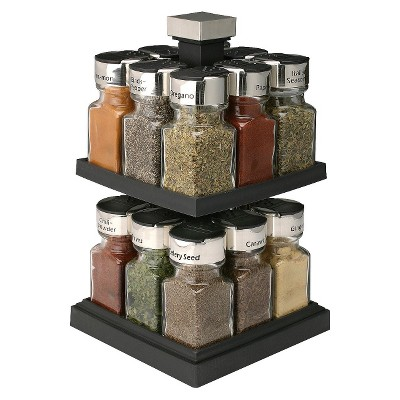 Square Rotating 16-Jar Spice Rack - Olde Thompson