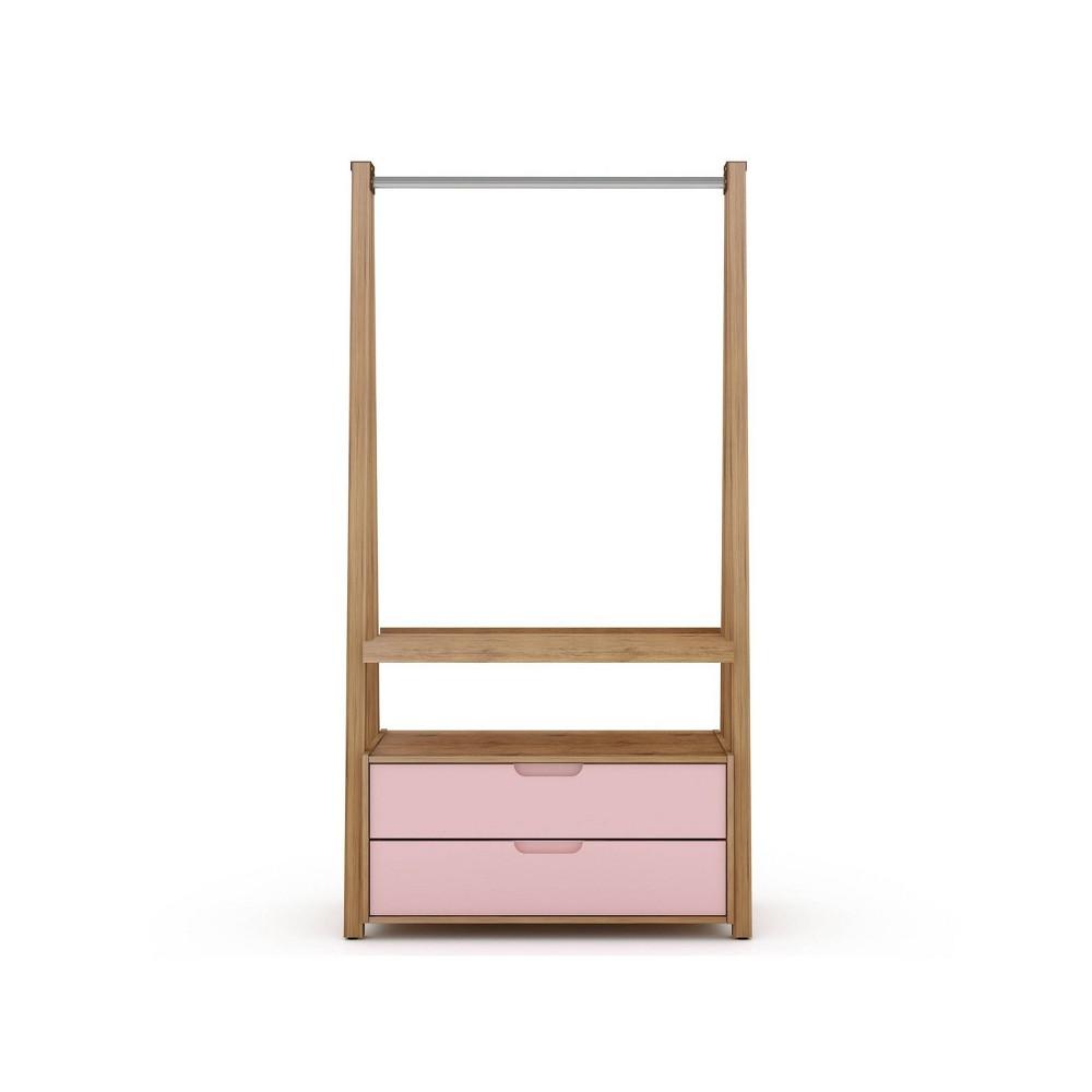 Image of Rockefeller Open Wardrobe Armoire Rose Pink - Manhattan Comfort