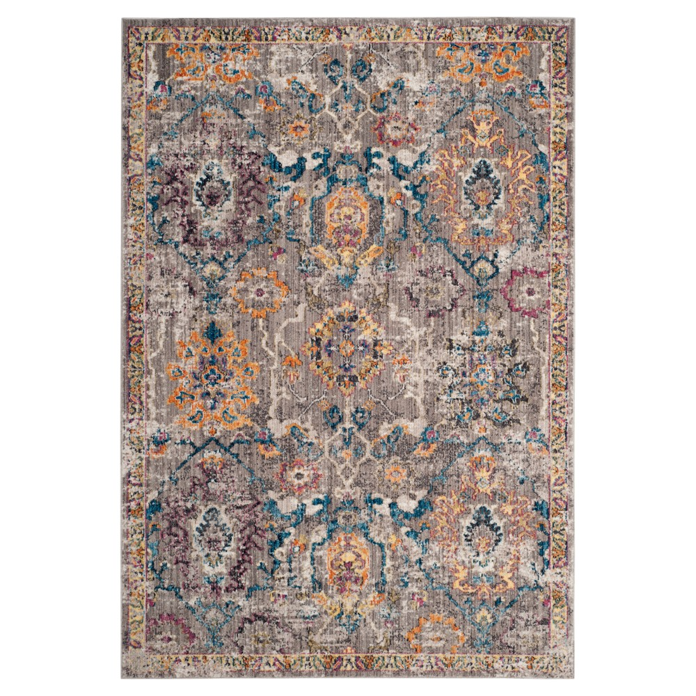 Gray/Blue Medallion Loomed Area Rug 5'1