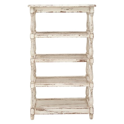 55  Metal and Wood 5 Tiered Wall Shelf White - Olivia & May