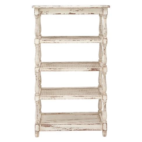 """55"""" Metal and Wood 5 Tiered Wall Shelf White - Olivia & May - image 1 of 2"""