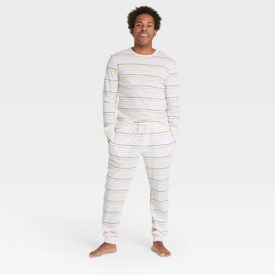 Men's Pastel Striped 100% Cotton Matching Family Pajama Set - Cream