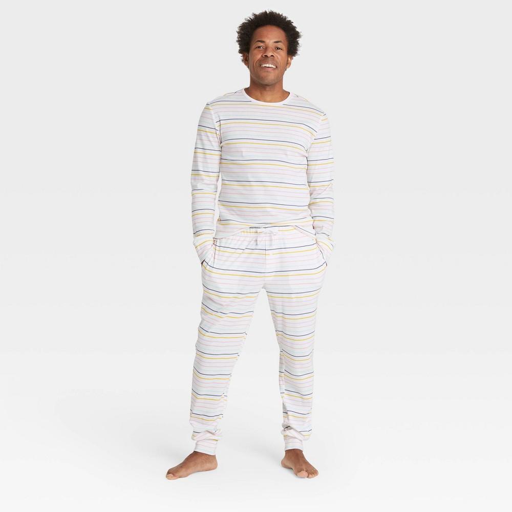 Men 39 S Pastel Striped 100 Cotton Matching Family Pajama Set Cream S