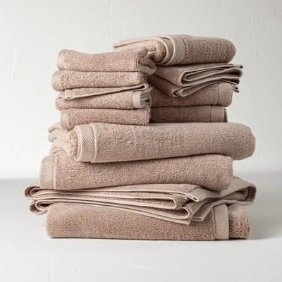 12pc Organic Bath Towel Set Dark Sand - Casaluna™