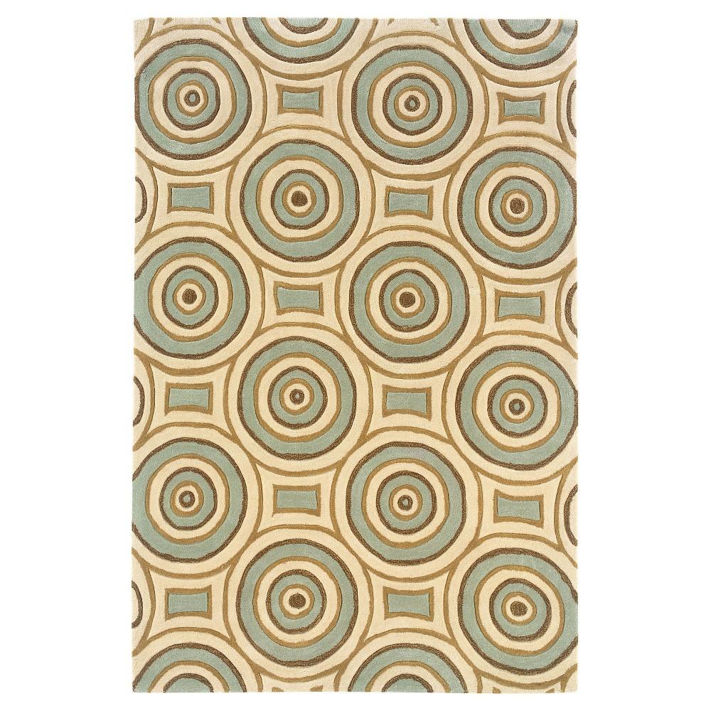 Trio Collection Circular Grid Area Rug - Cream / Aqua (8' X 10') Product Image