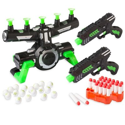 HearthSong Glow-in-the-Dark Air Target Game for Kids, Includes Two Air Blasters, 24 Soft Darts, and 20 Air Targets