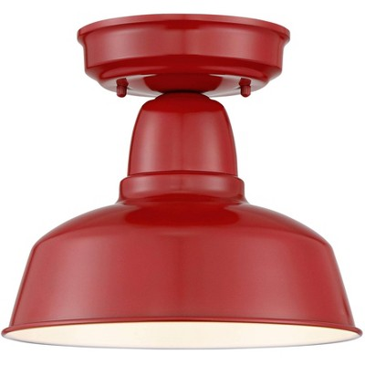 """John Timberland Farmhouse Outdoor Ceiling Light Fixture Urban Barn Red Metal 10 1/4"""" for Exterior House Porch Patio"""