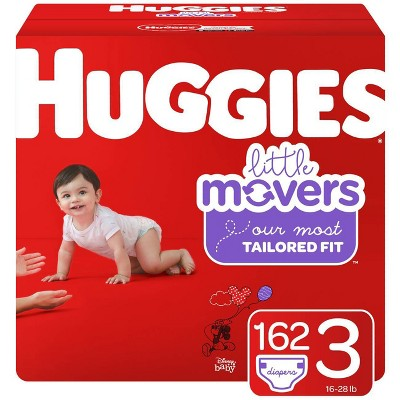 Huggies Little Movers Diapers - Size 3 (162ct)