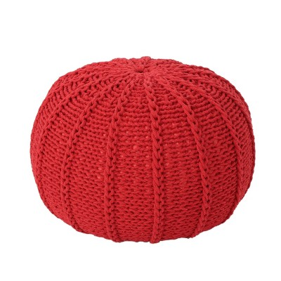 Corisande Knitted Cotton Pouf - Christopher Knight Home