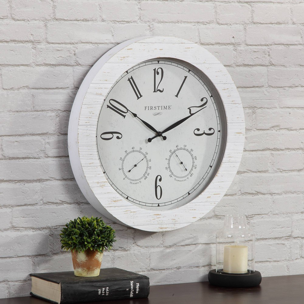 "Image of ""18"""" First Time Shiplap Planks Outdoor Wall Clock Charcoal"""