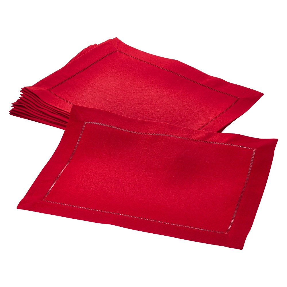 """Image of """"(Set of 12) Red Rochester Placemat 14""""""""x20"""""""" - Saro Lifestyle"""""""