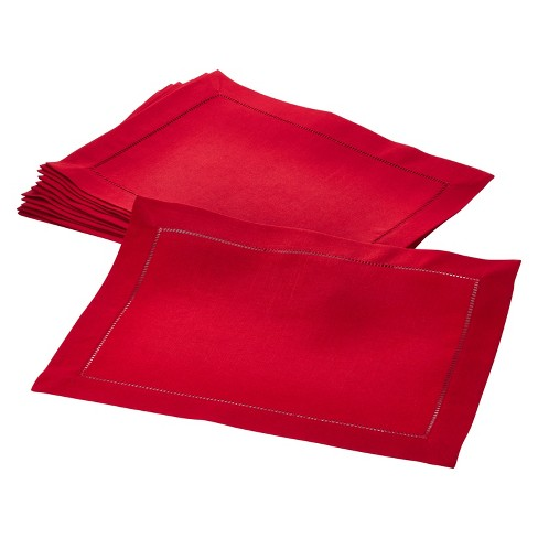 "(Set of 12) Red Rochester Placemat 14""x20"" - Saro Lifestyle® - image 1 of 2"
