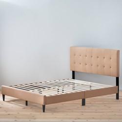 Cara UpholsteredPlatformBed withSquare TuftedHeadboard - Brookside Bed