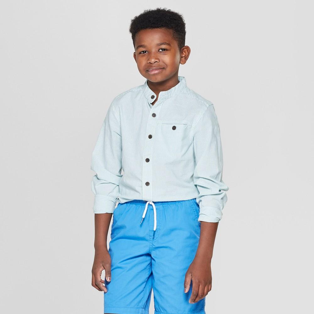 Best Online Boys Long Sleeve Mandarin Collar Button Down Shirt Cat Jack Green XL Husky Blue