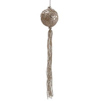 Allstate 12 Seasons Of Elegance Glittered Ball With Tassels Christmas Ornament Gold Target