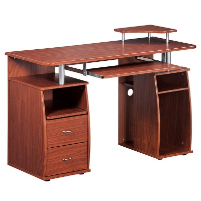 Complete Computer Workstation Desk with Storage - Mahogany - Techni Mobili