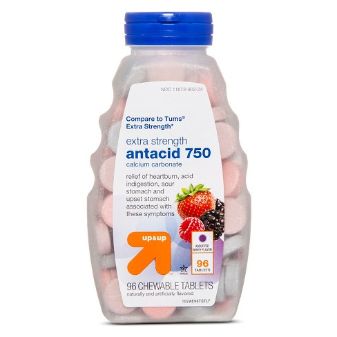 Extra Strength Antacid Assorted Berry Chewable Tablets - 96ct - Up&Up™ (Compare to Tums Extra Strength) - image 1 of 1