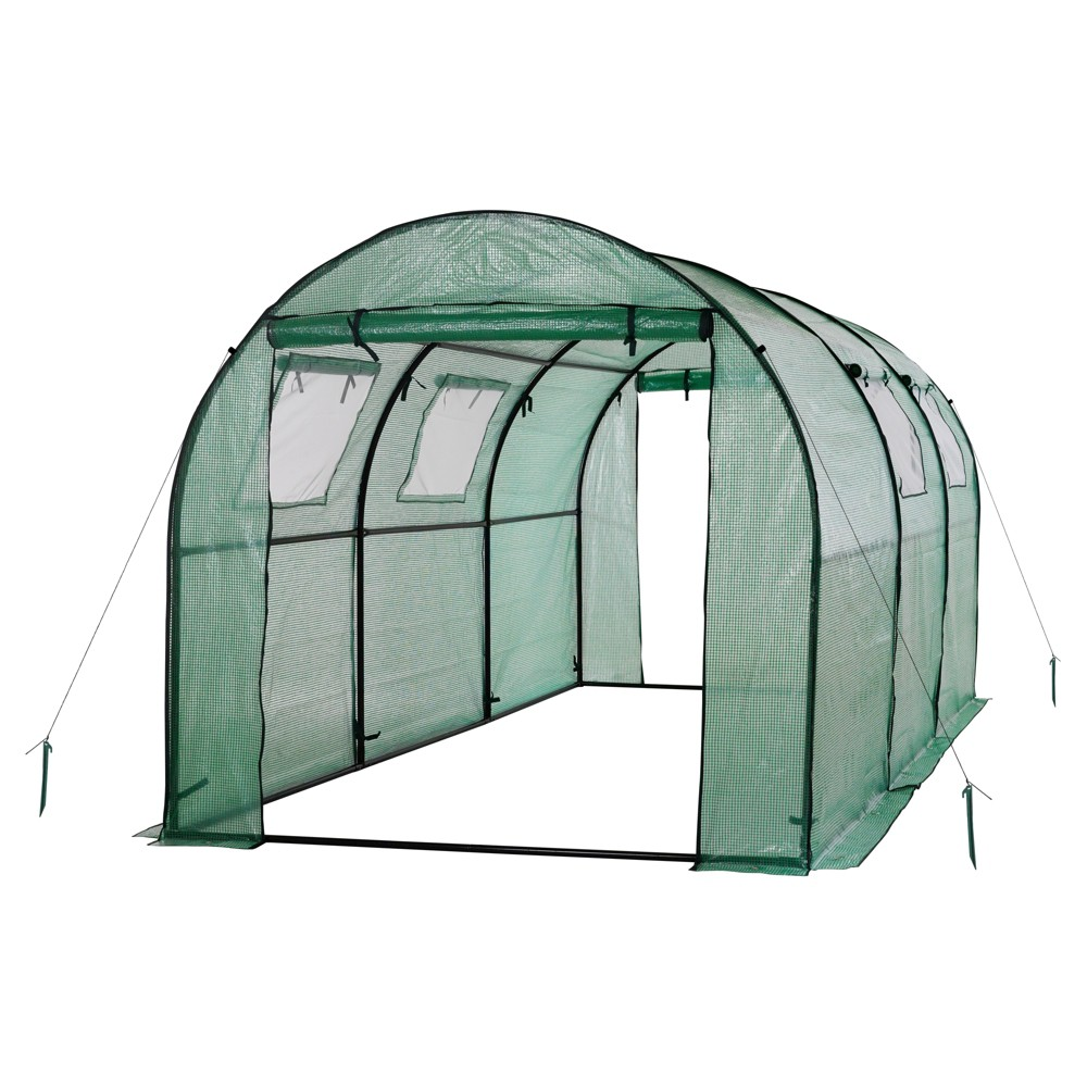 Image of Two Door Walk - In Tunnel Greenhouse With Ventilation Windows And Steel Frame – 15' X 6' X 6' - Green - Ogrow