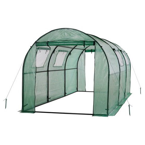 Two Door Walk - In Tunnel Greenhouse With Ventilation Windows And Steel Frame – 15' X 6' X 6' - Green - Ogrow - image 1 of 8