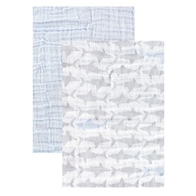 Yoga Sprout Baby Boy Cotton Muslin Swaddle Blankets, Shark, One Size
