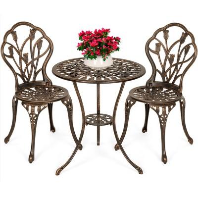 Best Choice Products 3-Piece Cast Aluminum Patio Bistro Furniture Set w/ Antique Finish - Copper