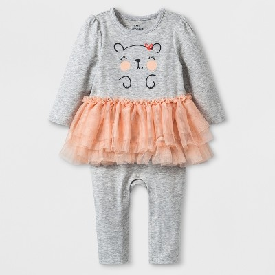 Baby Girls' Long Sleeve Critter Tutu Romper - Cat & Jack™ Heather Gray 3-6M