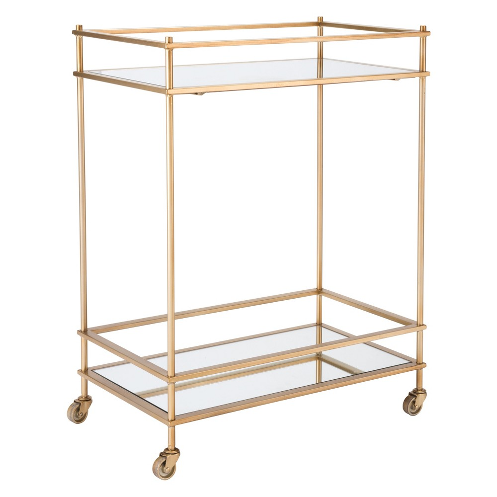 31.5 Mirrored Glass and Steel Bar Cart - Gold - ZM Home