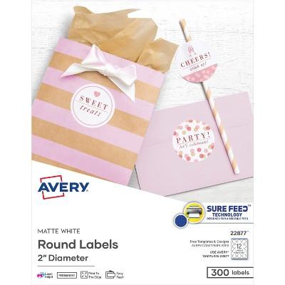 "Avery Labels Round Permanent 2"" Dia 300/PK Matte White 22877"