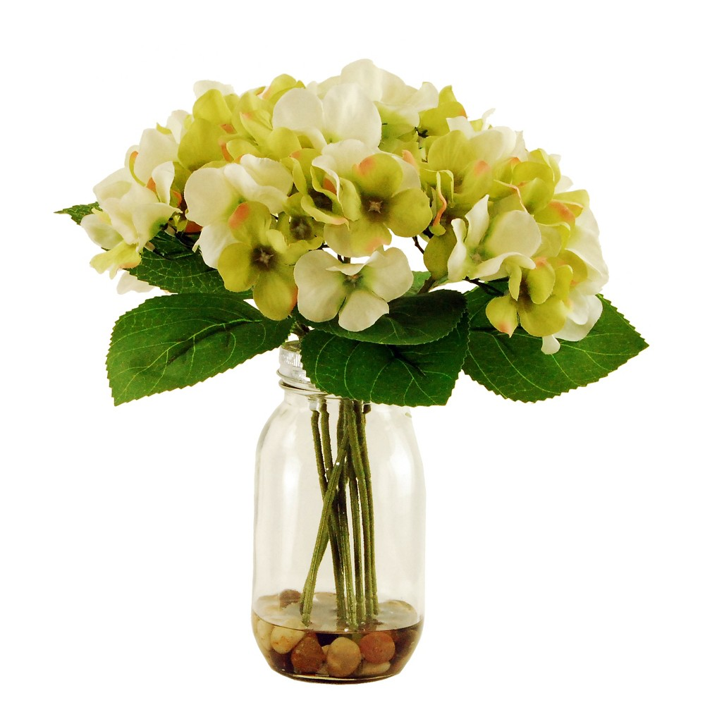 Image of Artificial Hydrangea Arrangement - White/Yellow - 1ft - Lcg Florals, Green