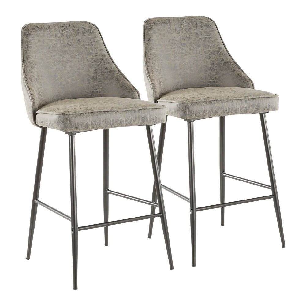 Set of 2 Marcel Contemporary Counter Stool Faux Leather Black/Gray - LumiSource