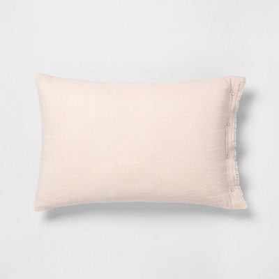 "14"" x 20"" Snap Closure Throw Pillow Peach - Hearth & Hand™ with Magnolia"