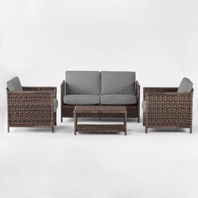 Monroe 4pc Wicker Patio Conversation Set - Gray - Threshold™