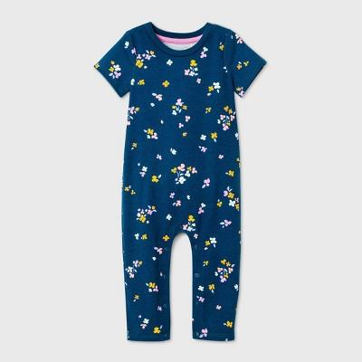 Baby Girls' Ruffle Bum Romper - Cat & Jack™ Blue 0-3M