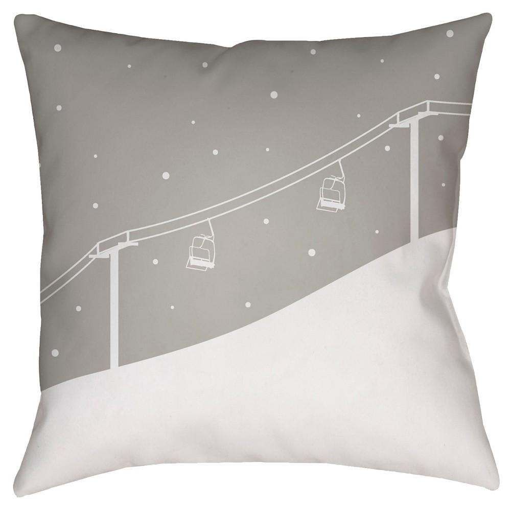 Gray Ski Lift Throw Pillow 20