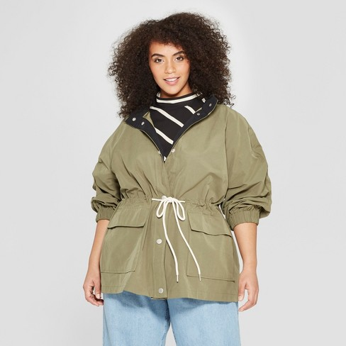 4855f8e9480 Women s Plus Size Duo Front Pocket Button Snap Detail Stand Collar Utility  Anorak Jacket - Who What Wear™ Green