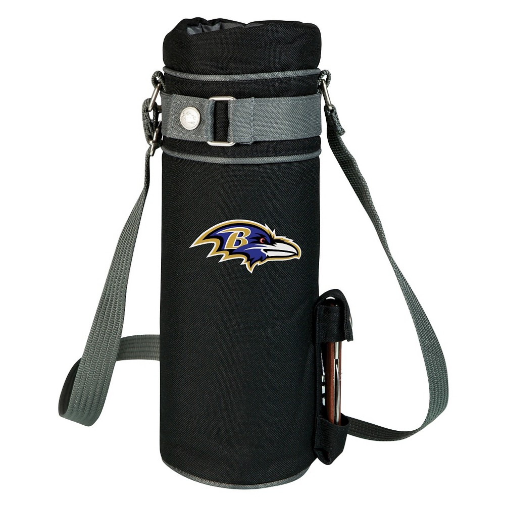 Baltimore Ravens - Wine Sack Beverage Tote by Picnic Time (Black) Those who enjoy wine will appreciate the style and simplicity of the Wine Sack, an insulated single-bottle tote with an adjustable shoulder strap. It features a stainless steel waiter-style corkscrew conveniently stored in its own secure pocket. The Wine Sack is made of polyester canvas with complementing brown trim. The tote is fully-insulated to keep your wine at the perfect temperature until you're ready to uncork it. Perfect for any occasion. When you'd like to bring your own wine to share, let the Wine Sack help you take it there! Color: Baltimore Ravens.
