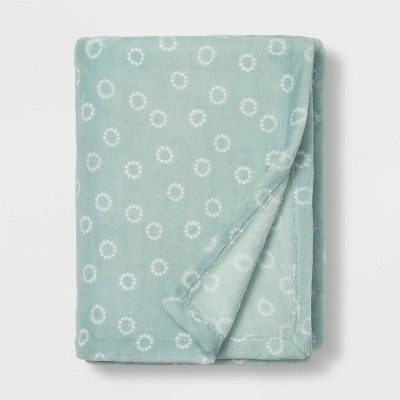Toddler Bed Plush Blanket - Cloud Island™ Teal Circles