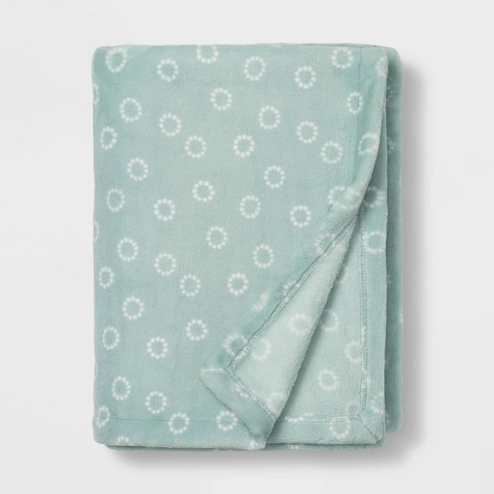 Toddler Bed Plush Blanket Cloud Island 8482 Teal Circles