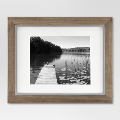 "11"" x 14"" Matted to 8"" x 10"" Wood and Metal Edge Frame Brown - Threshold™"