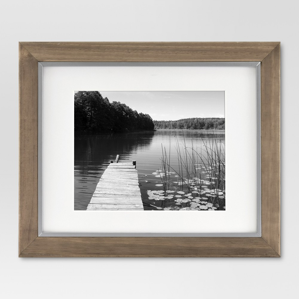 Discounts 11 x 14 Matted to 8 x 10 Wood and Metal Edge Frame Brown - Threshold