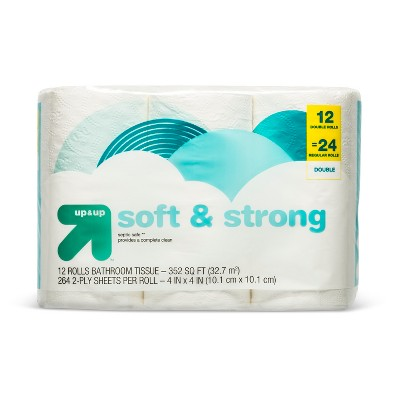 up & up soft & strong toilet paper - 12 double rolls - up