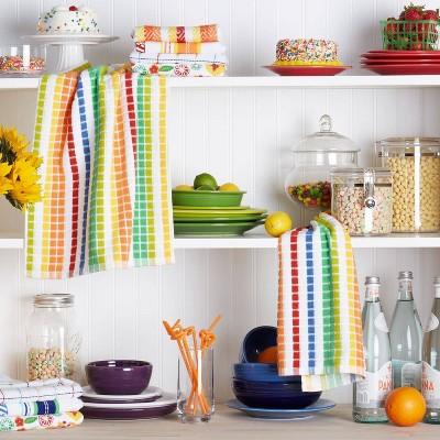 Santa Fe Stripe Cotton Kitchen Towel 2pc Set - Fiesta