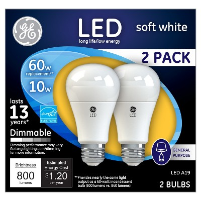 General Electric LED 60w 2pk Light Bulb White