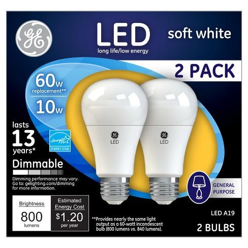Ge Led 60 Watt Light Bulb Soft White 2pk