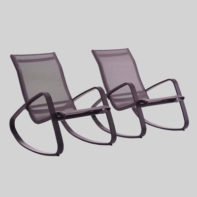 Traveler 2pk Rocking Lounge Chair Outdoor Patio Mesh Sling - Modway