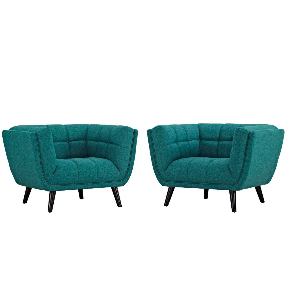 Image of 2pc Bestow Upholstered Fabric Armchair Set Teal - Modway, Blue